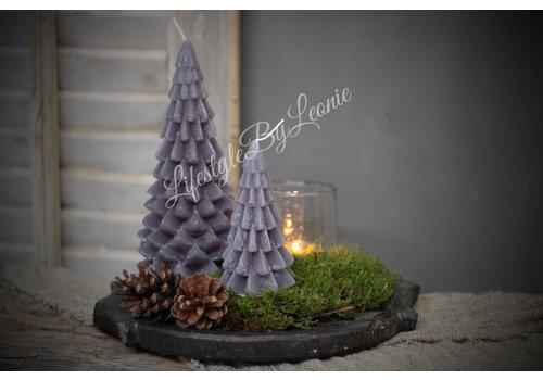 Kerstboom kaars grijs 12 cm