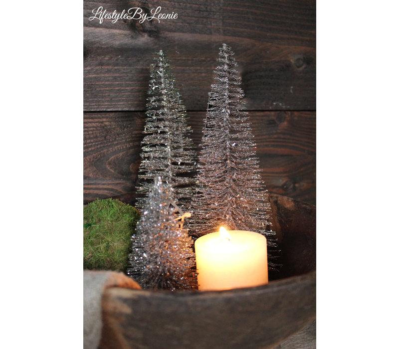 Glitter kerstboom J-line antraciet 15 cm
