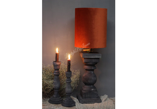 Smalle hoge velvet cilinder lampenkap Camel 27 cm