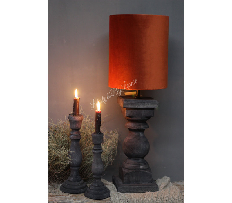 Smalle hoge cilinder lampenkap velvet camel|27cm