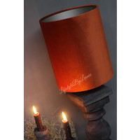 Smalle hoge cilinder lampenkap velvet camel 27 cm