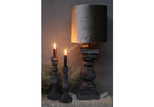 LifestyleByLeonie Cilinder lampenkap Velours Zink taupe 25 cm