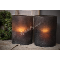 Sober zwart windlicht / pot papier 20 cm