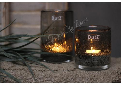 Dutz DUTZ cilinder windlicht met bubbels olive 10 cm