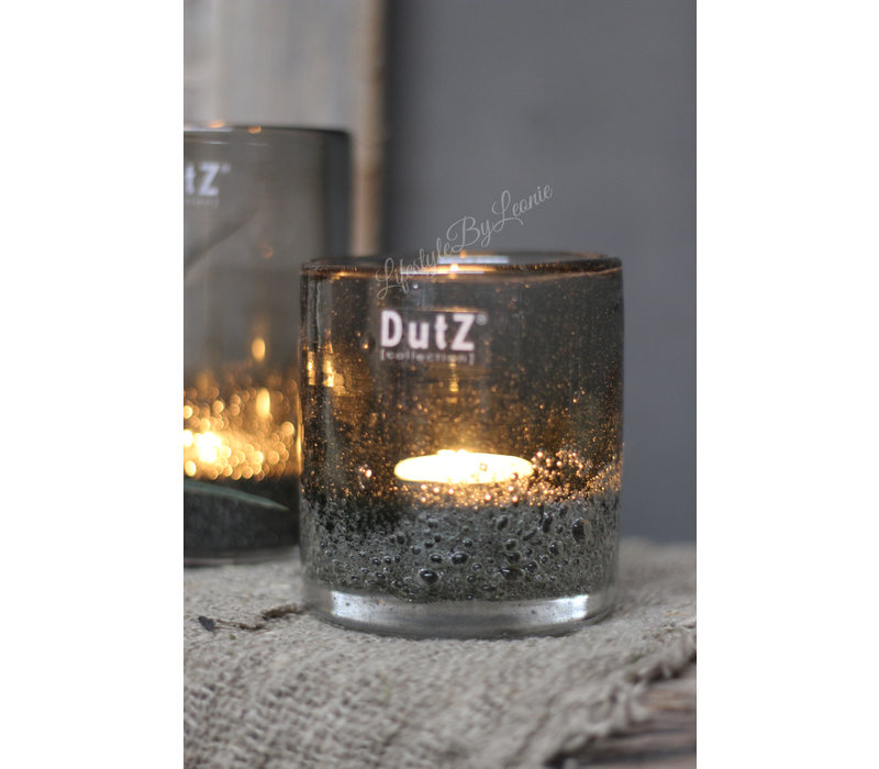 DUTZ cilinder windlicht met bubbels olive 10 cm