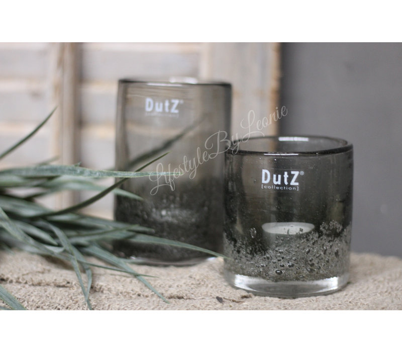 DUTZ cilinder windlicht met bubbels olive 14 cm