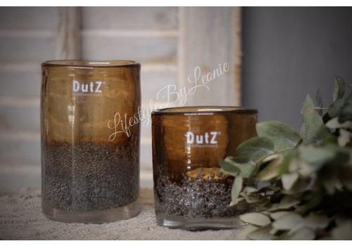Dutz DUTZ cilinder windlicht met bubbels camel 10 cm