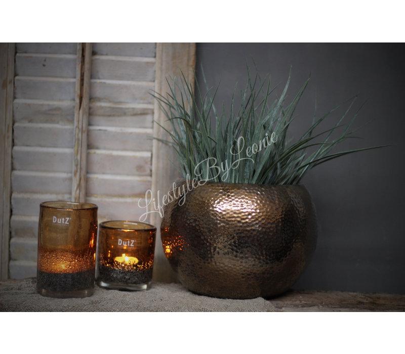 DUTZ cilinder windlicht met bubbels camel 14 cm