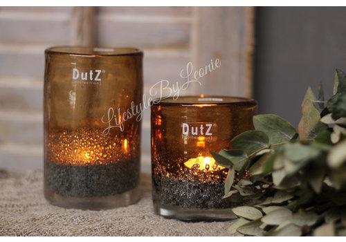 Dutz DUTZ cilinder windlicht met bubbels camel 14 cm