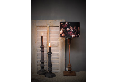 Stoere tafellamp roest/hout 50 cm