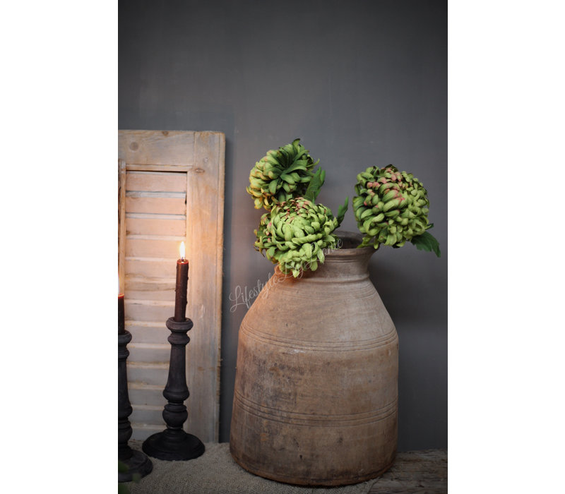 Zijden Chrysant green 63 cm