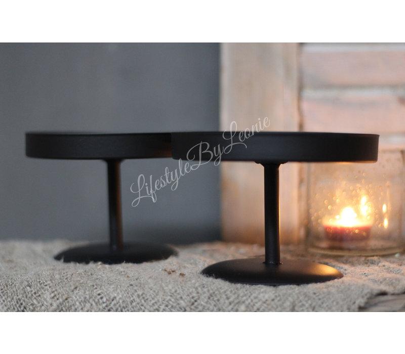 Zwarte ronde tray op voet 14 cm