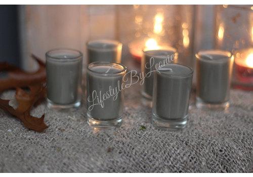 LifestyleByLeonie Set kaarsjes in glas Taupe