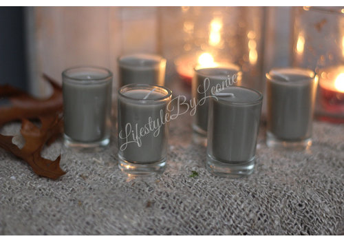 Set kaarsjes in glas Taupe