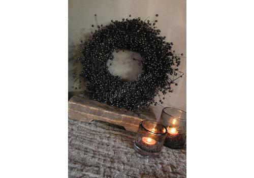 LifestyleByLeonie Vlas krans zwart 30 cm