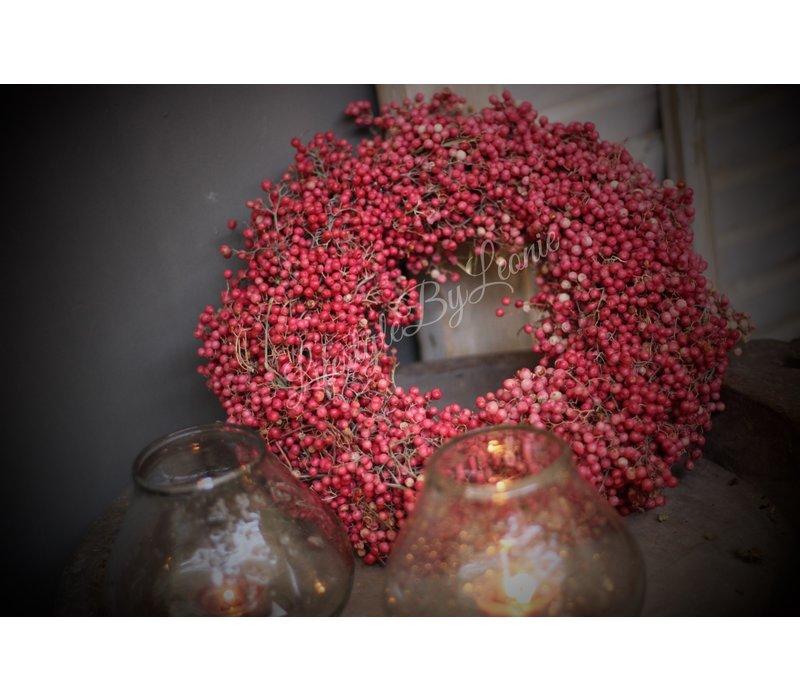 Pepperberries krans roze 30 cm