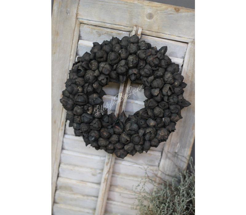 Krans Coco fruit black 30 cm
