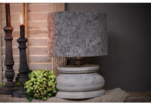 LifestyleByLeonie Houten baluster lampvoet light grey 22 cm