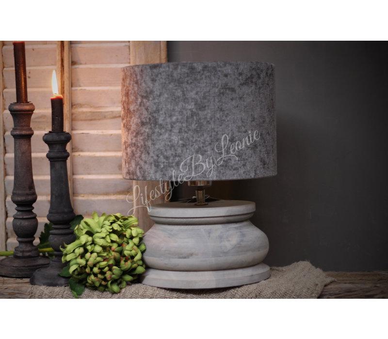 Houten baluster lampvoet light grey 22 cm