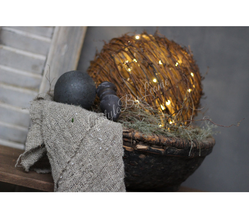 Rattan hanging ball LED 25 cm