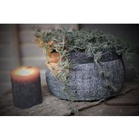 Stenen schaal / pot grijs/zwart 18 cm