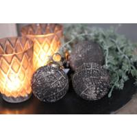 Sober glazen kerstbal black/grey