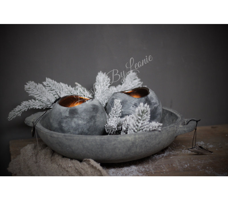 Brynxz ronde waxinelicht houder brons/grey