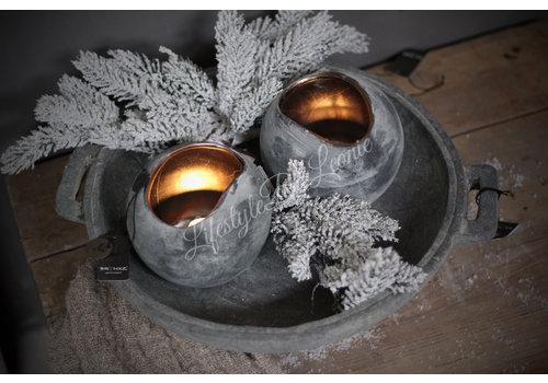 Brynxz Brynxz ronde waxinelicht houder brons/grey