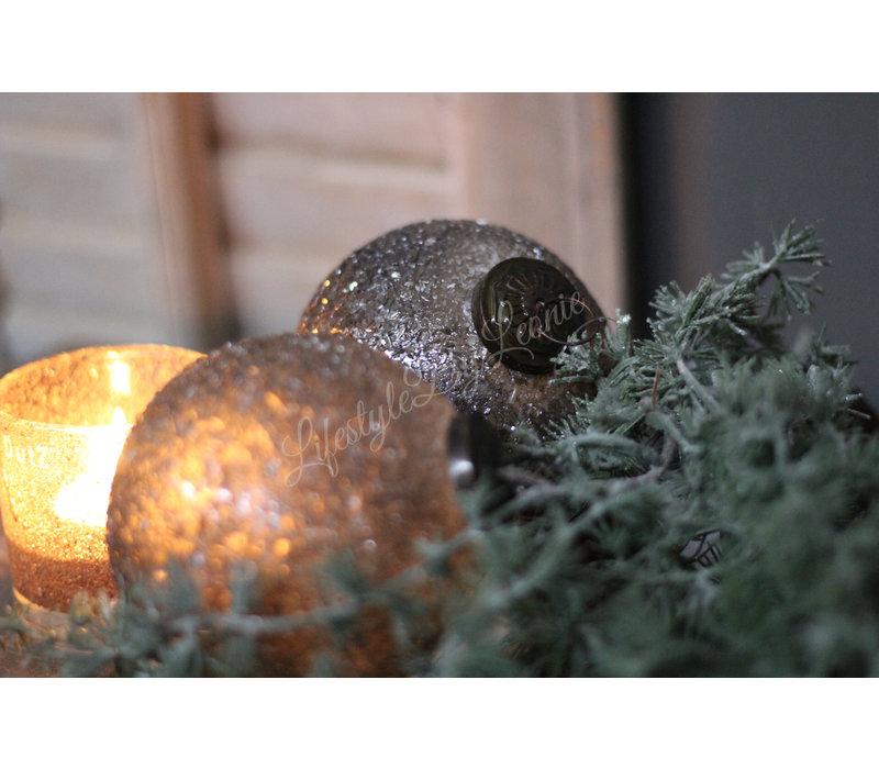 Kerstbal sober grey Shinny 10 cm