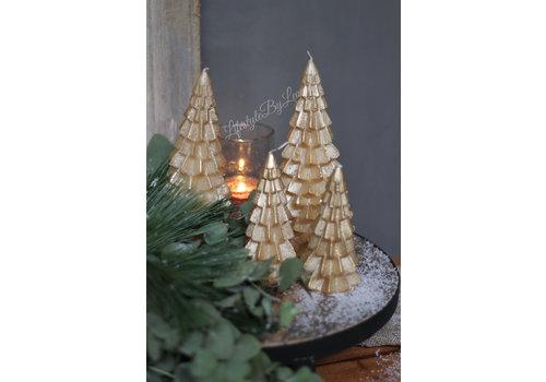 LifestyleByLeonie Kerstboom kaars goud 20cm