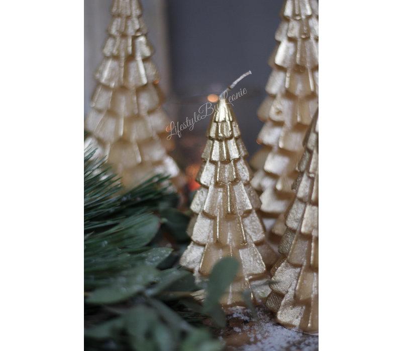 Kerstboom kaars goud 20 cm