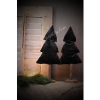 Hoge stoffen kerstboom op voet Black velvet 37 cm