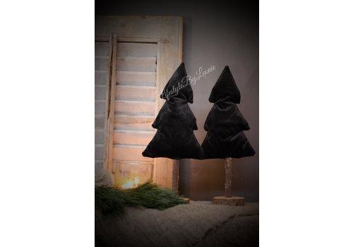LifestyleByLeonie Hoge stoffen kerstboom op voet 'Black velvet' 37cm