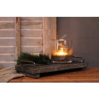 Houten tray met handvaten Old sturdy 30 cm