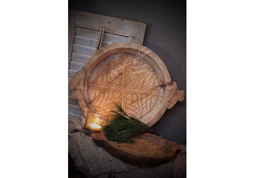 LifestyleByLeonie Authentieke Indiase houten schaal met houtsnijwerk