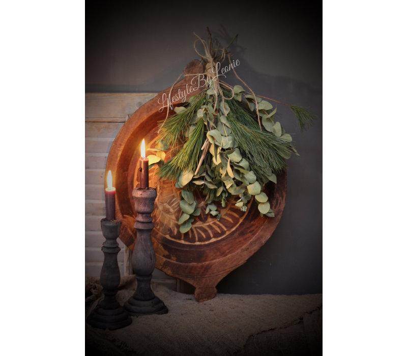 Authentieke Indiase houten schaal met houtsnijwerk