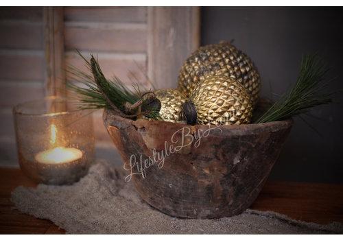 LifestyleByLeonie Sobere glazen kerstbal dotted 'Old gold' 10cm