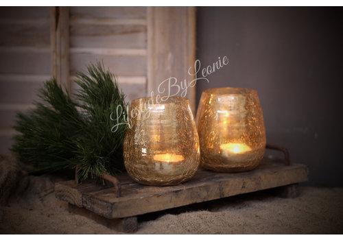 LifestyleByLeonie Glazen waxinehouder conic Old gold 10 cm