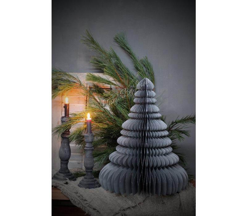 Papieren kerstboom grijs 50 cm
