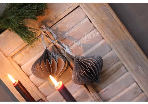 LifestyleByLeonie Papieren kerstbal 'onion' grijs 10cm