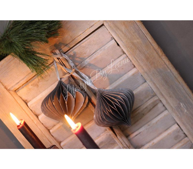 Papieren kerstbal Onion grijs 10 cm