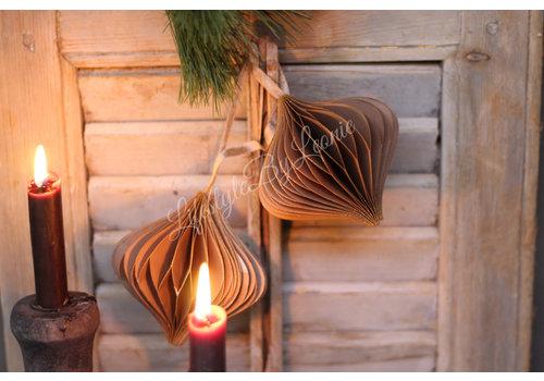 Papieren kerstbal Onion bruin 10 cm