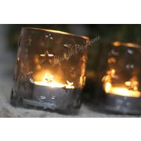 Glazen waxinelichthouder helder stars 8 cm