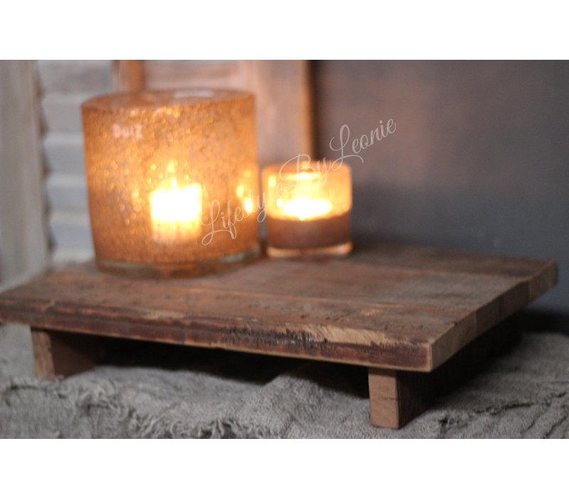 Oud houten railway tray op pootjes 37 x 25 cm