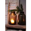 Glazen windlicht conic Chocolate 20 cm