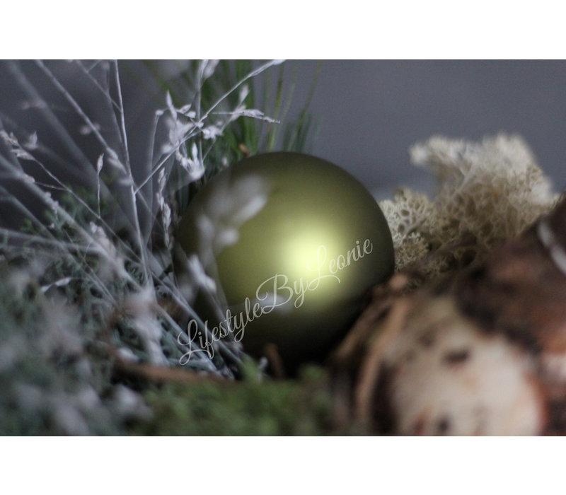 Kerstbal mos groen mat