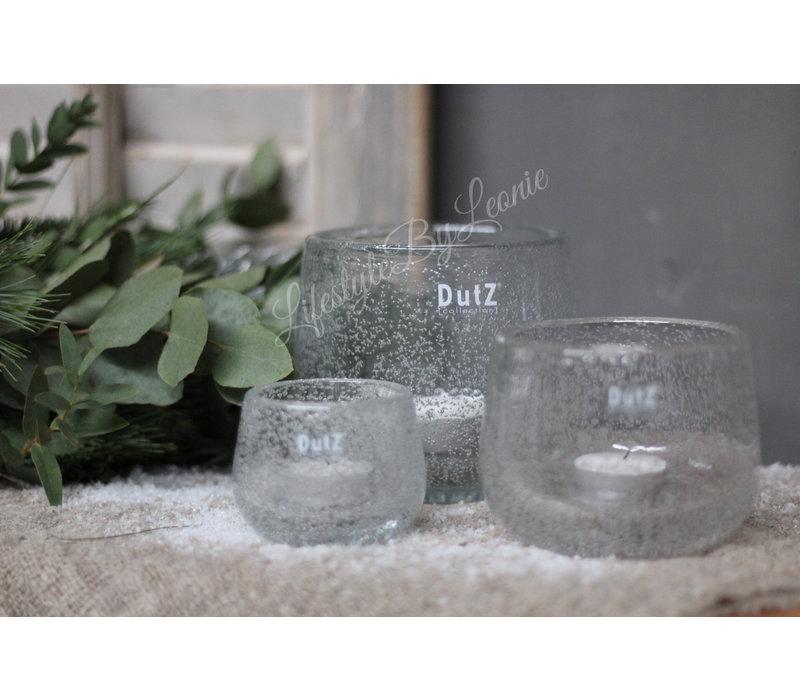 DUTZ round windlicht met bubbels helder 6 cm