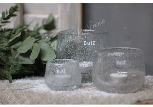 Dutz DUTZ round windlicht met bubbels helder 7 cm