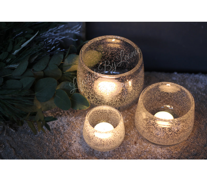 DUTZ round windlicht met bubbels helder 7 cm