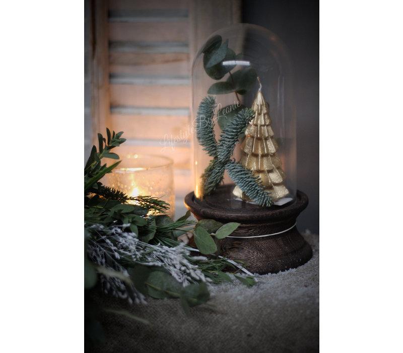 Kerstboom kaars goud 12 cm